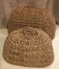 Set/2 • Large And Small Wicker Nesting Food Covers/Domes/Cloches W/Handles