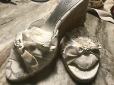 Coach Tristie Scribble Wedge Sandal in White and Silver. NIB . Sz 9.