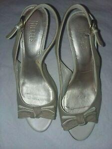 Nickels Women Open Toe Bow Woven Slingback Sandal Beige White Heels Wedge Sz 8.5