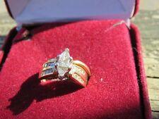 14KP Wedding Band Diamond Marquise Cut Beautiful Ring $4,000 size 5