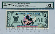 1987 DISNEY DOLLAR - FIRST DAY ISSUE FIRST YEAR ISSUE - PMG 63 EPQ - CHOICE UNC