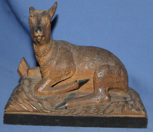 ANTIQUE HAND CARVED WOOD ROE FAWN STATUETTE