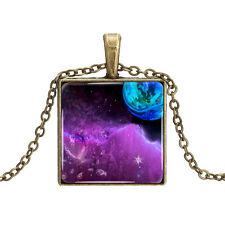 Vintage Style Bronze Chain Purple Blue Sky Space Square Elegant Necklace N438