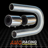 "Stainless Steel 24"" Flexible Upper or Lower Radiator Hose Kit w/ Polished Caps"
