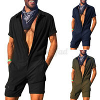 Mode Herren Kurzarm Jumpsuits Full Zip Causal Workwear Shorts Strampler Hosen