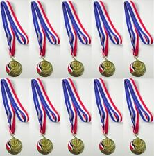 Personalised Pack of 10 Medals with Victory Torch Centre + Ribbons