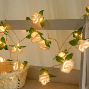 20 LED Rose Flower Lights String Fairy Wedding Christmas Party Garden Decor 2M