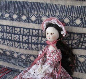 """6"""" Antique Inspired Queen Anne or Georgian Hand Carved Wood Doll Hitty artist b"""
