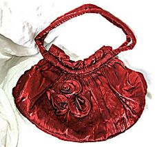 Exquisito Chic Dark Red Sedoso Noche Bolsa De Hombro Asas tiro más de día