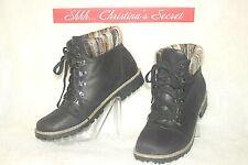 CLIFFS White Mountain Ankle Boots Womens Black Wool Cuffs Prianna Sz 8.5 M *VG
