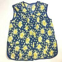Moon Dance Cobbler Apron Blue Sunflowers Shirt Top Floral Womens - Large
