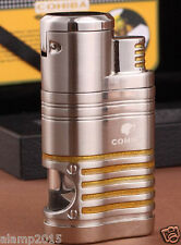 COHIBA Silver Metal 4 Torch Jet Flame Cigar Cigarette Lighter W/ Cigar Punch