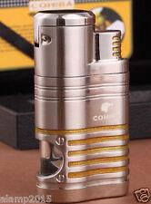 COHIBA Silver Metal 4 Torch Jet Flame Cigar Cigarette Lighter W/ Cigar Punch