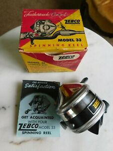 Early Vintage Zebco 33 Fishing Reel with Original Box & Papers ~ works great!