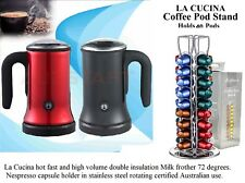 FRIENDS DONT WAIT 90 SEC HOT Milk Frother/heater 1 + CUP'S + Nespresso 40 stand