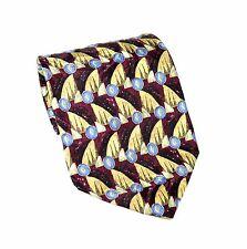 "Albert Nipon Men's Necktie 100% Silk 4"" Wide 58"" Long Maroon Blue Yellow White"