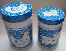 Two Vintage Blue and White Chicken Cow Tin Canister Round Metal Containers Lid