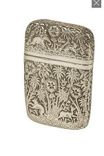 South East Asian 19th Century Silver Card Case AniMals & Palm Trees