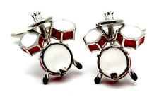 Red Drum Kit Cufflinks - Music Themed Gift - Gift for Drum & Music Student