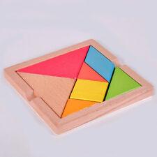 CN_ 1Pc Wooden IQ Game Jigsaw Intelligent Tangram Brain Teaser Puzzle Baby _GG