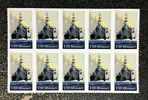 2018USA #5392 Forever USS Missouri - Block of 10 Mint Stamps Sheet