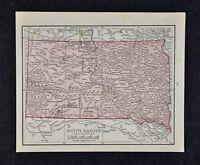 1917 McNally Map South Dakota Pierre Black Hills Deadwood Sioux Falls Rapid City