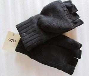 UGG Gloves Knit Flip Mittens Leather Palm Wool Blend Black L/XL