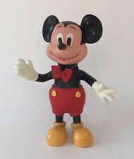"Vtg Mickey Mouse Rubber Figure Walt Disney Productions Hong Kong Jointed 8"" tall"