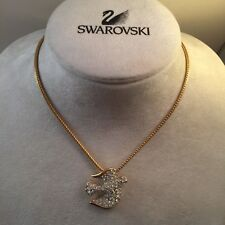 Signed Swan Swarovski Pave Dove Pendant Necklace