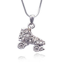 3 Dimensional Small Roller Skate Sport Pendant Necklace Clear Crystal Jewelry