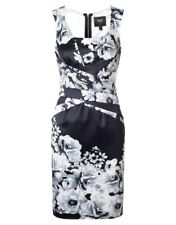 Lipsy VIP Pleated Pencil Dress 10 Monochrome Floral Print Black White Wedding