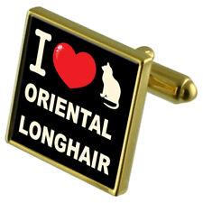 I Love My Cat Gold-Tone Cufflinks Money Clip Oriental Longhair