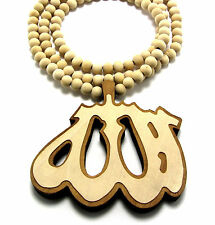 "WOODEN ALLAH ISLAM MUSLIM PENDANT PIECE 36"" CHAIN BEAD NECKLACE GOOD WOOD STYLE"
