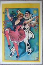 BEAUTIFUL ORIGINAL 1910 POSTER - PIERROT & DANCING GIRL