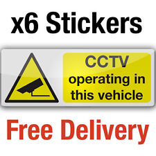 6 CCTV camera in vehicle adhesive vinyl stickers 8x3cm car taxi bus sign decals