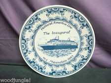 Vintage Delft Blue Holland America Ms Maasdam Plate Inaugural Blauw Delfts