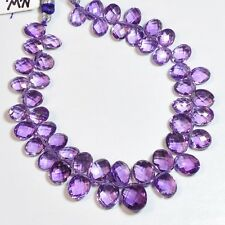 """Grape Amethyst Faceted Oval Briolette Bead 8"""" Strand"""