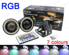 "Multi-Color RGB 3"" Projector LED Fog Light Lamp DRL w/ COB Halo Angel Eyes Rings"