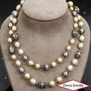 "Estate 8.18ct Diamond South Sea Pearl 14K Gold Silver 20"" Necklace 138.5 Gr NR"