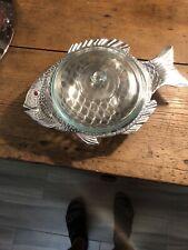 2Qt Pyrex seafood casserole bowl table serving arthur court aluminum fish art.