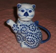 Vtg Cat Tea Kettle Porcelain Hand Painted Blue White Kitten Figurine Cat Creamer