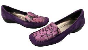 Enzo Angiolini Loafer 9.5 Medium Purple Suede Faux Snakeskin Print Slip On