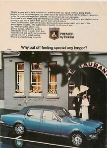 ORIGINAL VINTAGE 1969 HT HOLDEN PREMIER AUSTRALIAN A5 COLOR ADVERT
