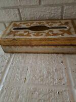 Vtg Italian Tole Florentine Gold Ivory Tissue Wooden Box Orignal  Label