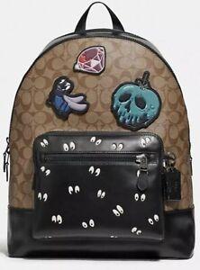 NWT Disney Coach Signature Backpack Dark Disney Patches Spooky Eye F72954