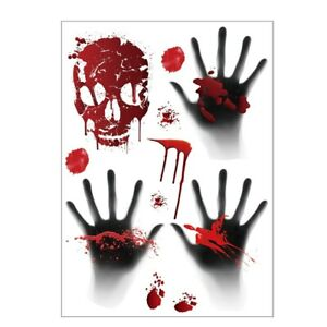 Halloween 3D Haunted Blood Hand WALL DOOR Stickers HORROR Decorations Party HOME