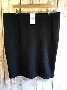 TU Black Textured Pattern Soft Stretchy Pencil Skirt Size 22 BNWT