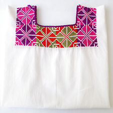 Colorful Mexican Huipil Peasant Blouse Tunic Top Embroidered M/L/XL