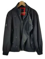 Mens Luke 1977 Jacket Large Size L Black Button Fastener Zip Through Coat Mans
