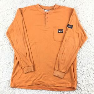 Men's Rasco Long Sleeve Henley Flame Resistant Shirt Size XL Orange Cotton Fire